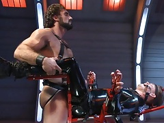 BDSM poor twink in shiny catsuit tied and fucked