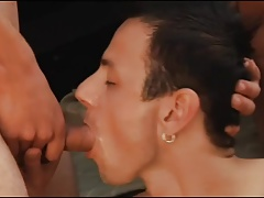 Bareback three-way cum swap