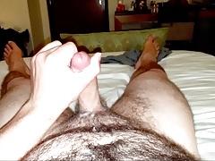 Unloading a nice big cumshot on the bed! (slow motion)