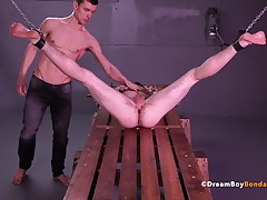 Twink Bound and Ass Fucked with Massive Dildo Anal Play BDSM