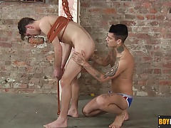 Mickey feeds his slave his raging stiffy