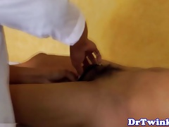 Asian MD giving electrosex to twink patient