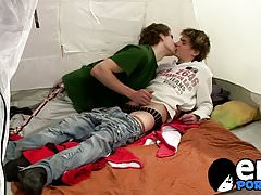 Skinny emo twinks get busy in a tent by kissing and sucking